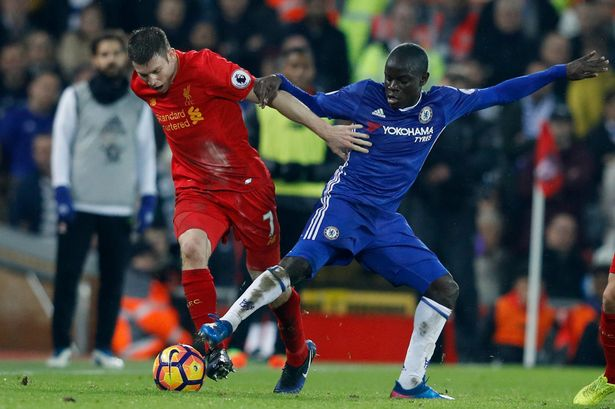 Liverpools-James-Milner-in-action-with-Chelseas-NGolo-Kante